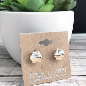 White Marble Stud Earrings | Geometric Jewelry | FENNO FASHION | Megan Fenno