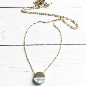White Marble Geometric Necklace | White Marble Stone | FENNO FASHION | Megan Fenno