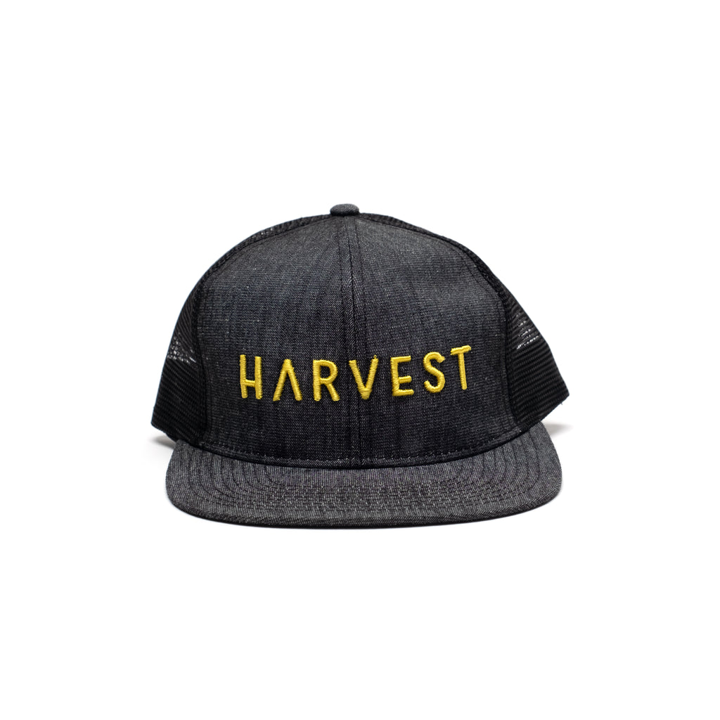 Black Denim Trucker with Raised Embroidery