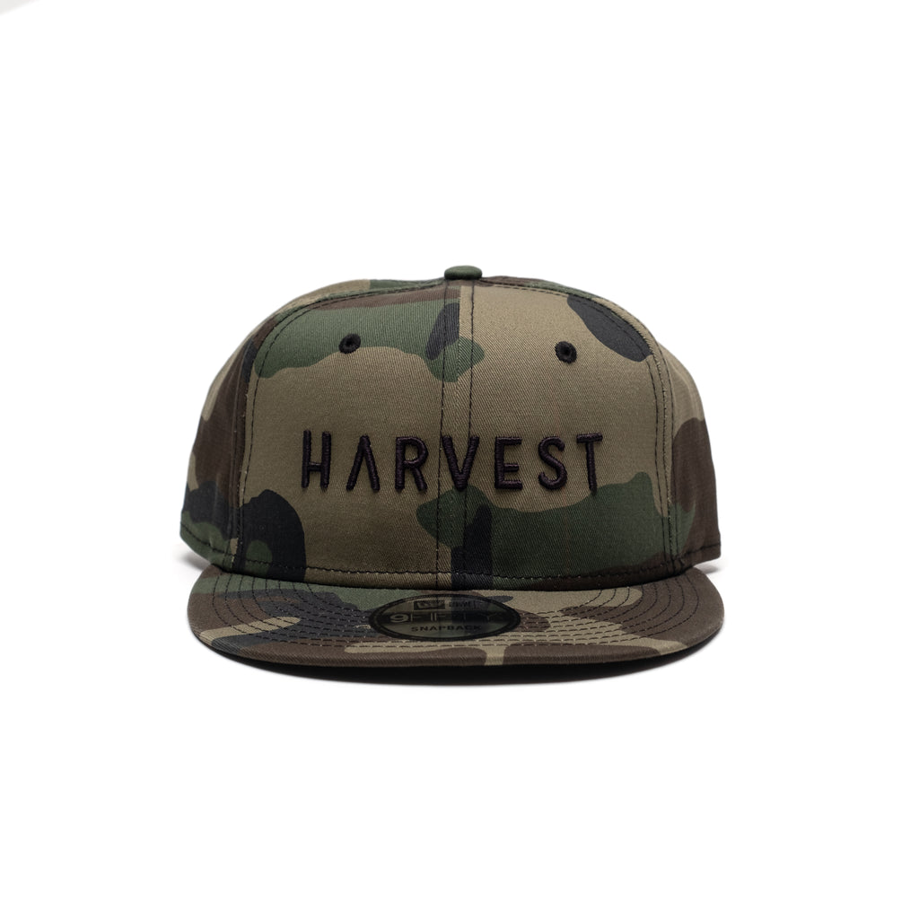 New Era Camo Flat Bill Cap with Raised Embroidery