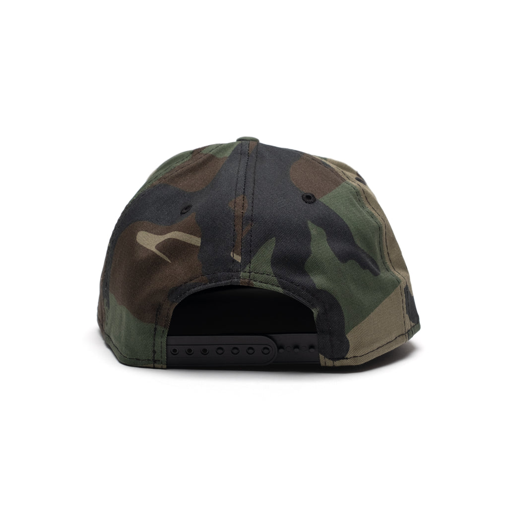 New Era Camo Flat Bill Cap with Puff Embroidery