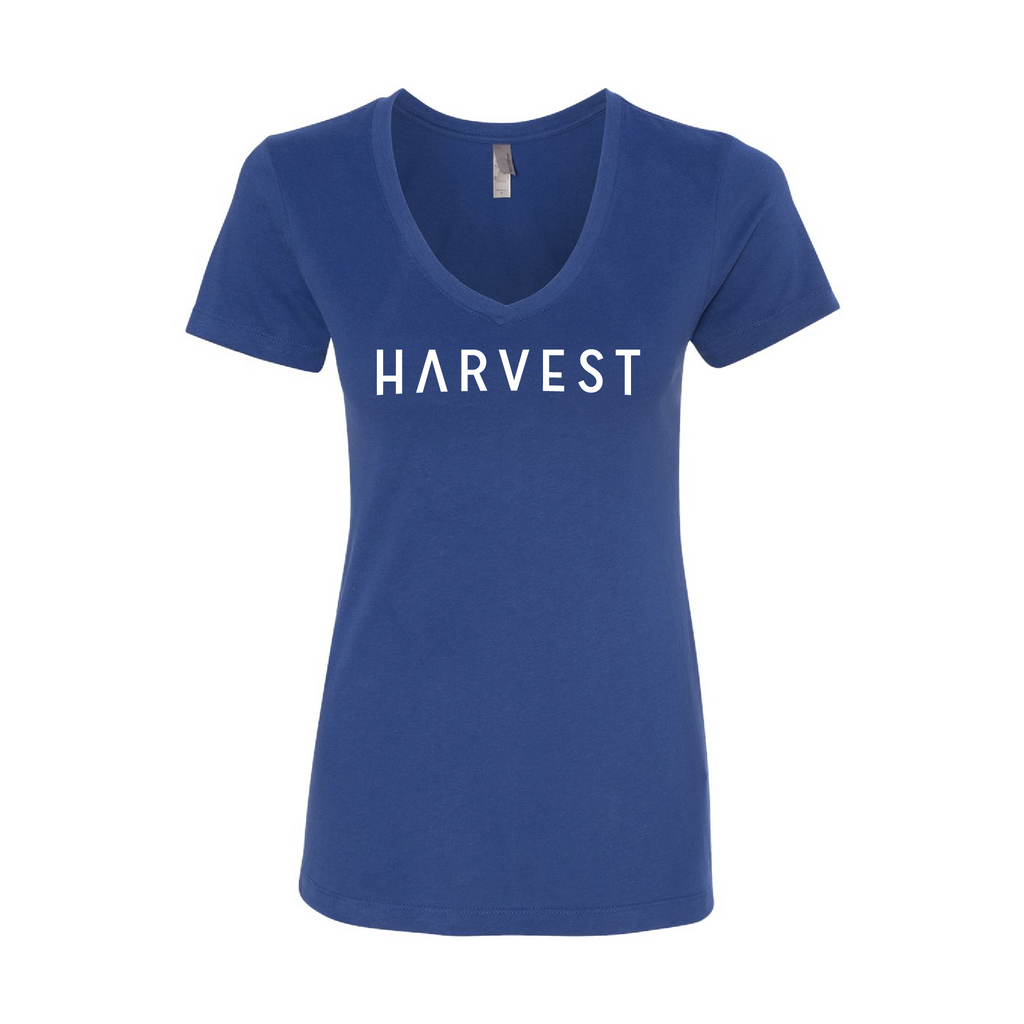 Women's Harvest V-Neck Tee Royal Blue