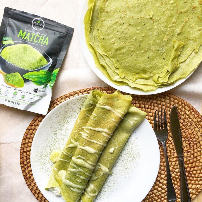 Matcha Crepes with White Chocolate Drizzle