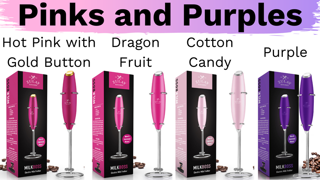 pink and purple milk frothers