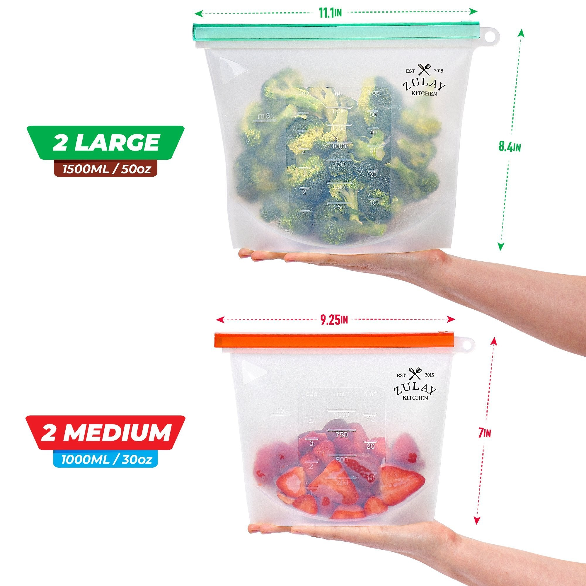 2 Large /& 2 Medium Silicone Bags 4 Pack Silicone Food Storage Bags