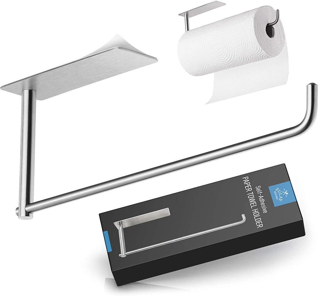 Self Adhesive Paper Towel Holder - Stainless Steel Wall Mount Design - Rustproof & Durable - Fits All Roll Sizes