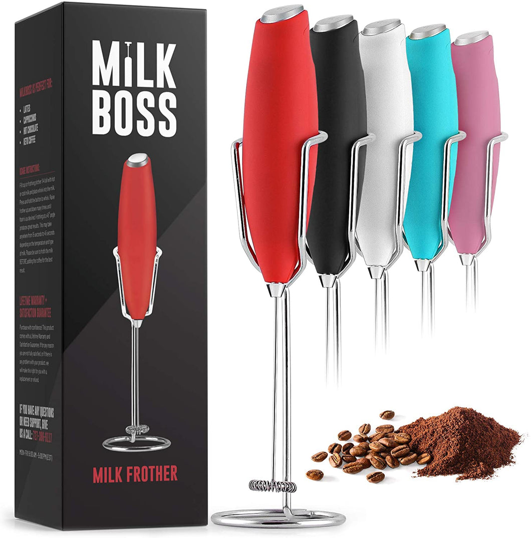 Milk Boss Milk Frother With Holster Stand - Electric Handheld Foam Maker For Coffee, Lattes, Matcha & More