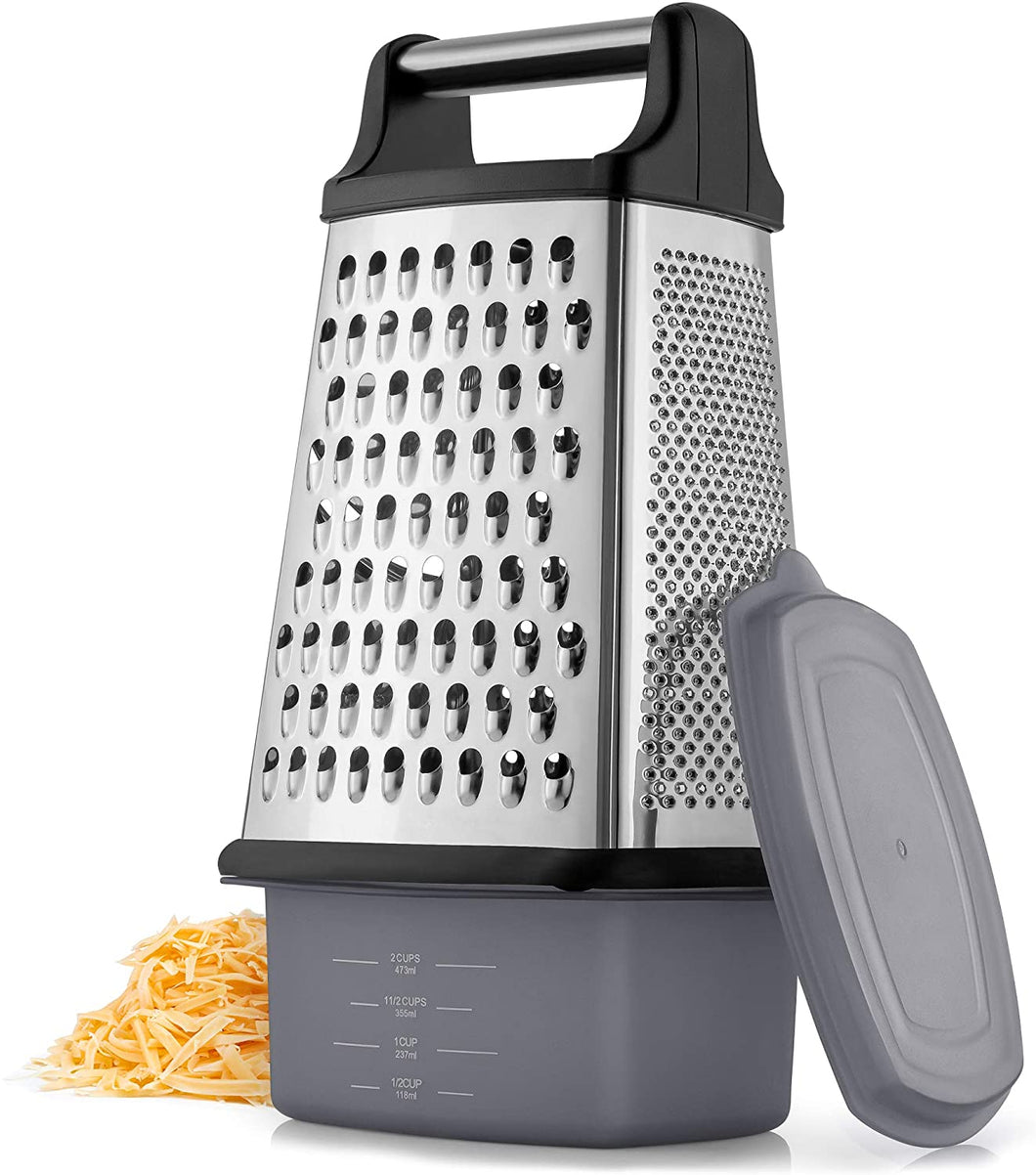 4-Sided Cheese Grater With Container - Stainless Steel Box Cheese Grater With Handle & Removable Storage Box