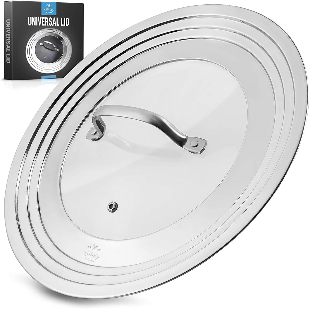 Universal Lid For Pots and Pans - Stainless Steel & Tempered Glass Fits 7