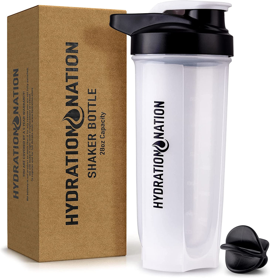 Hydration Nation 28oz Protein Shaker Bottle - BPA Free Shaker Bottles For Protein Mixes With Paddle Shaker Ball - Leakproof Shaker Cup & Smoothie Bottle