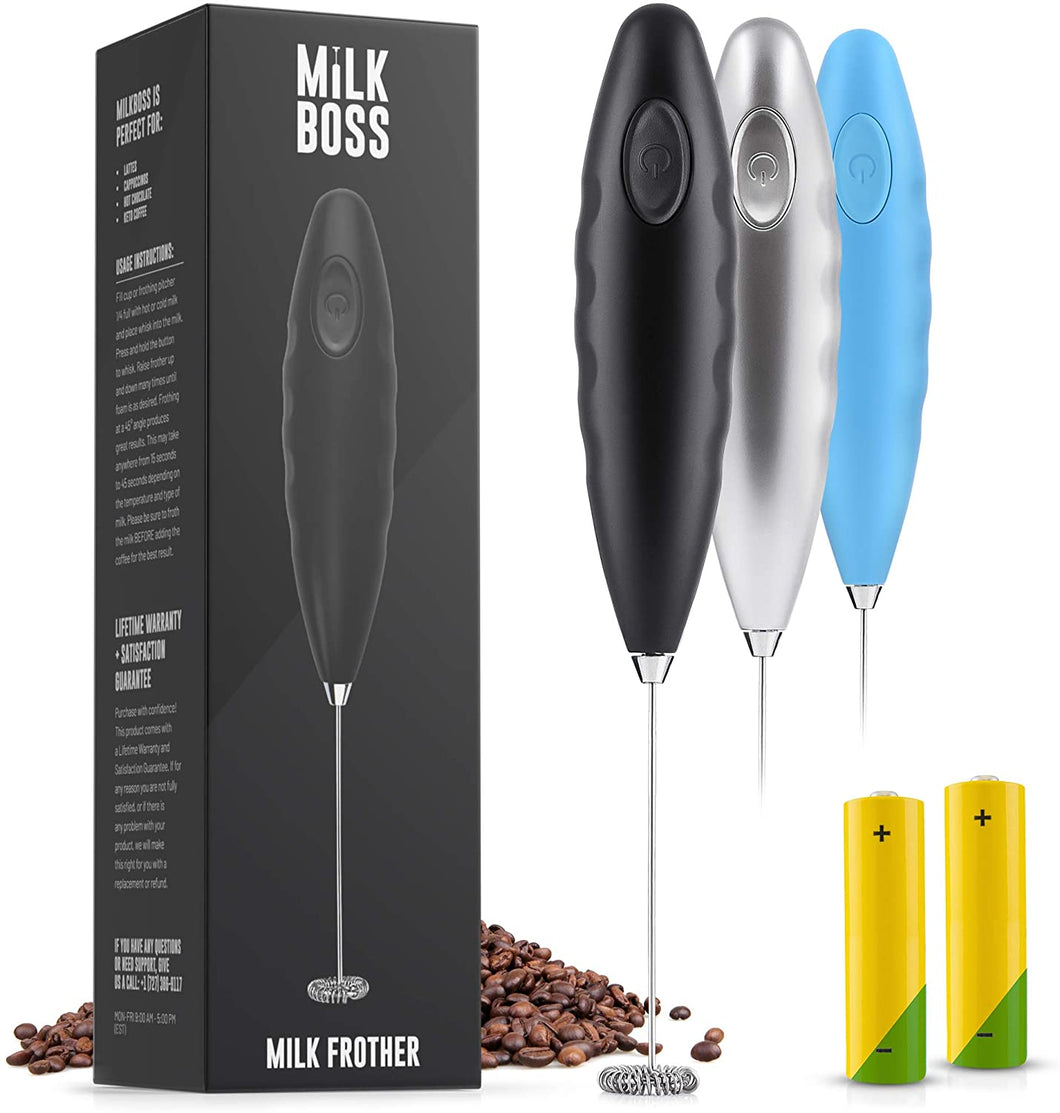 Milk Boss (Batteries Included) Double Grip Milk Frother- Electric Handheld Foam Maker For Coffee, Latte, Matcha & More