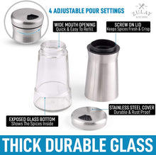 Load image into Gallery viewer, Salt And Pepper Shakers 4 oz Stainless Steel & Glass With 4 Adjustable Pour Holes