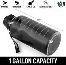Load image into Gallery viewer, Hydration Nation 1 Gallon Water Bottle With Straw & Time Marker Quotes - For Fitness, Sports & More (Black)