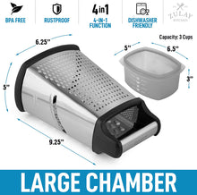 Load image into Gallery viewer, 4-Sided Cheese Grater With Container - Stainless Steel Box Cheese Grater With Handle & Removable Storage Box