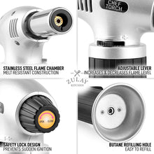 Load image into Gallery viewer, Culinary Butane Torch Lighters - Kitchen Blow Torch For Cooking With Safety Lock & Adjustable Flame - Refillable Kitchen Torch & Cooking Torch For Creme Brulee & Baking (Butane Gas Not Included)