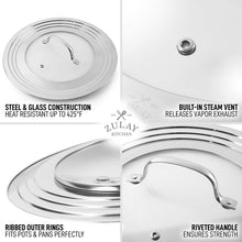 "Load image into Gallery viewer, Universal Lid For Pots and Pans - Stainless Steel & Tempered Glass Fits 7"" To 12"" Diameter Cookware, Skillets, Pans, & More"