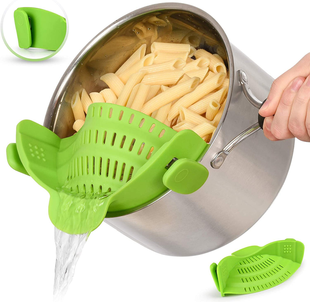 Adjustable silicone pot strainer