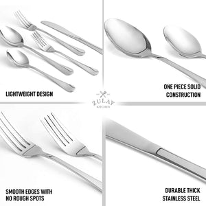 Deluxe Silverware Set For 4 - Knives, Forks And Spoons Silverware (20-Piece)
