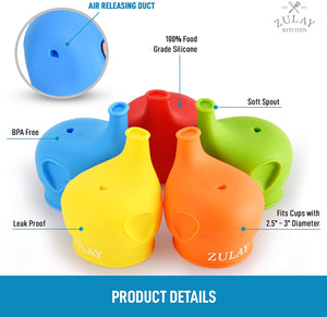 Stretchable Silicone Sippy Cup Lids With Soft Spout (5 Pack)