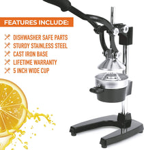 Load image into Gallery viewer, Professional Heavy Duty Citrus Juicer - Manual Citrus Press and Orange Squeezer