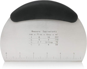 Multi-purpose Stainless Steel Bench Scraper & Chopper with Easy to Read Etched Markings for Perfect Cuts