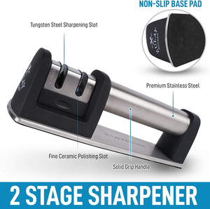 Knife Sharpener for Straight and Serrated Knives - Easy Manual Sharpening