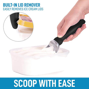 Ice Cream Scooper with Soft Easy Handle and Built-in Lid Opener