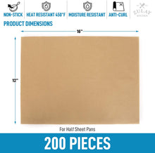 Load image into Gallery viewer, Unbleached Parchment Paper For Baking (200 pieces) - 12x16 Inches Pre-Cut Parchment Paper Sheets For Half Sheet Pans