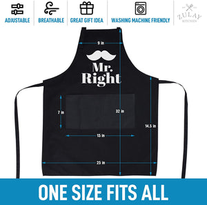 Funny Aprons for Women, Men & Couples - Black Apron with Pockets for BBQ, Cooking, Baking, Painting, More
