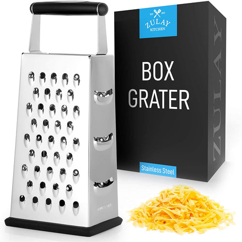 Cheese Grater With Easy Grip Handle & Anti-Skid Base - Wide Grating Surface Box Grater With Sharp Blades