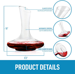 Crystal Red Wine Decanter - 100% Hand Blown Lead-Free Glass Wine Aerator (1800ml)