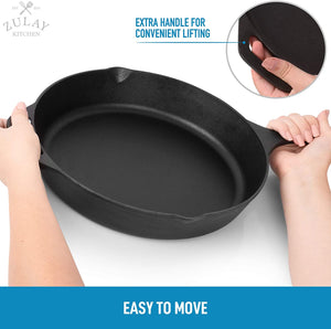 Heavy Duty Seasoned Iron Cast Skillet For Indoor & Outdoor Cooking