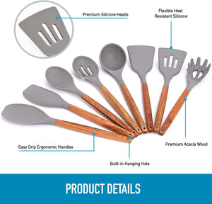 Premium 8 Piece Silicone Utensils Set with Authentic Natural Acacia Hardwood Handles