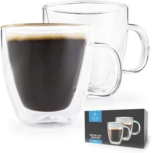 Double Wall Insulated Clear Glass Espresso Cups, set-of-2 (5.4oz)