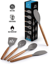 Load image into Gallery viewer, Premium 5 Piece Silicone Utensils Set with Authentic Natural Acacia Hardwood Handles