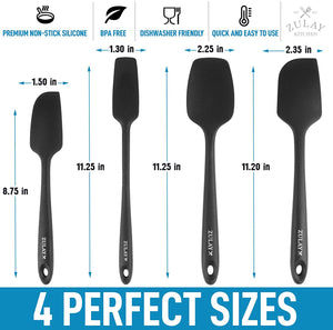 Heat Resistant Silicone Spatula Set with Durable Stainless Steel Core