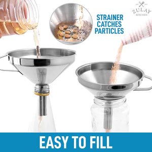 Kitchen Funnel With Removable Filter For Filtering or Transferring Liquids & Dry Ingredients