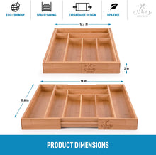 Load image into Gallery viewer, Zulay Expandable Bamboo Kitchen Drawer Organizer