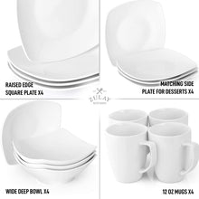 Load image into Gallery viewer, Premium Quality Porcelain Plates Set & Dishes Set - 4 Plates, 4 Side Plate, 4 Soup Bowl, 4 Square Mug & 2 Silver Sponges