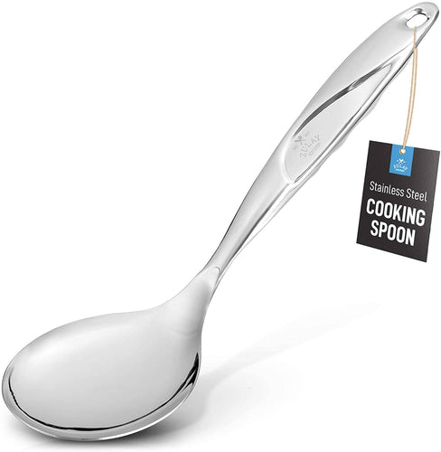 Serving Spoon - 11.5 inch Stainless Steel Solid One-Piece Cooking Spoon With Comfortable Handle