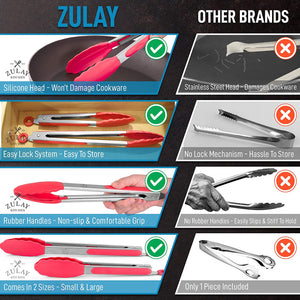 "Tongs For Cooking With Silicone Tips (9"" & 12"") - Stainless Steel Kitchen Tongs With Lock Mechanism"