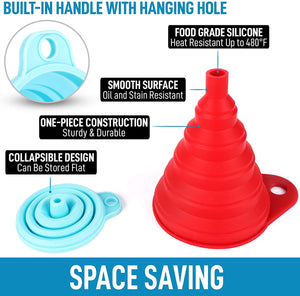 Silicone Funnels Set With Narrow Mouth