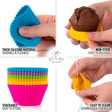 Load image into Gallery viewer, Cupcakes Liners - 12 Pack Reusable Non Stick Silicone Cupcake Baking Cups & Silicone Muffin Liners For Baking