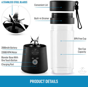 Zulay Portable Blenders For Shakes And Smoothies - USB Rechargeable Portable Smoothie Blender Small For Travel