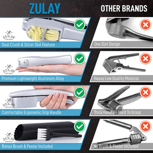 2-in-1 Garlic Press Set with Cleaning Brush & Silicone Garlic Tube Peeler