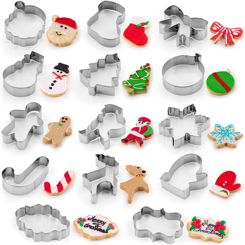 Metal Christmas Cookie Cutters (14-Pieces) - Stainless Steel Christmas Cookie Cutters With Folded Edges