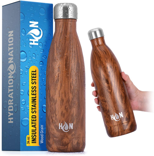 Hydration Nation Stainless Steel Water Bottle - Double Wall Insulated Metal Water Bottle For Hot & Cold Drinks - Zulay Kitchen