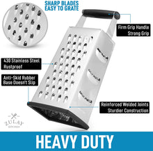Load image into Gallery viewer, Cheese Grater With Easy Grip Handle & Anti-Skid Base - Wide Grating Surface Box Grater With Sharp Blades
