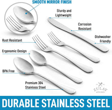 Load image into Gallery viewer, Deluxe Silverware Set For 4 - Knives, Forks And Spoons Silverware (20-Piece)