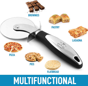 Food Grade Stainless Steel Pizza Cutter Wheel With Non Slip Ergonomic Handle